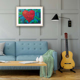Geometric Heart Standard RAW Frame Living Room Setting