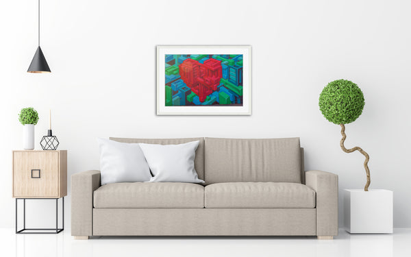 Geometric Heart Standard WHITE Frame Living Room Setting
