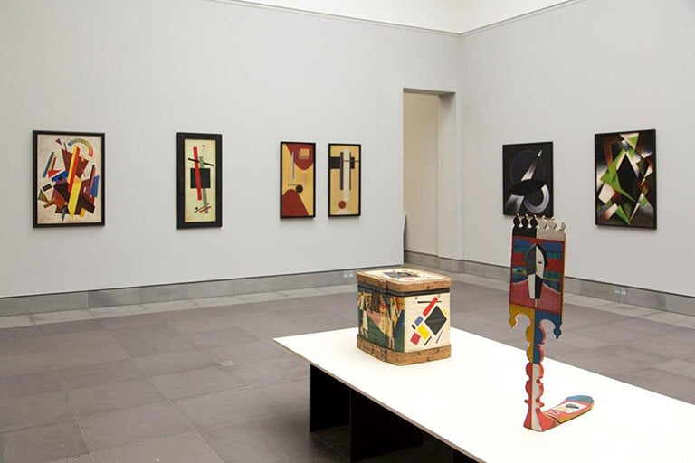 Works displayed (in order from left to right) by Olga Rozanova, Kazimir Malevich, El Lissitzsky, Alexander Rodchenko and Lyubov Popova.