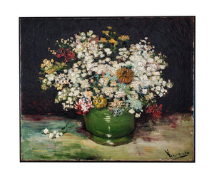 Bowl of Zinnias and Other Flowers by Van Gogh