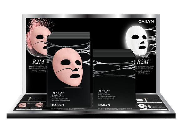 R2M SILK STRETCH MICROFIBER MASK + SILK KAOLIN PINK CLAY MASK DISPLAY SET