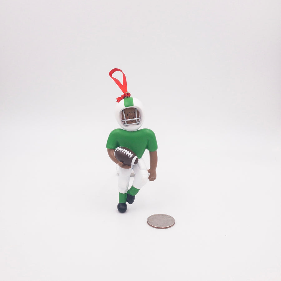 Quarterback in Green Uniform Personalized Christmas Ornament / African American Football Player