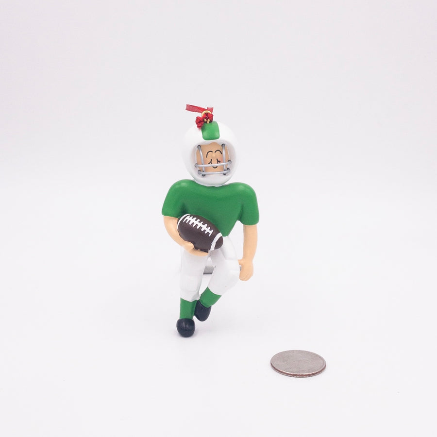 Quarterback in Green Uniform Personalized Christmas Ornament / Football Team Ornament