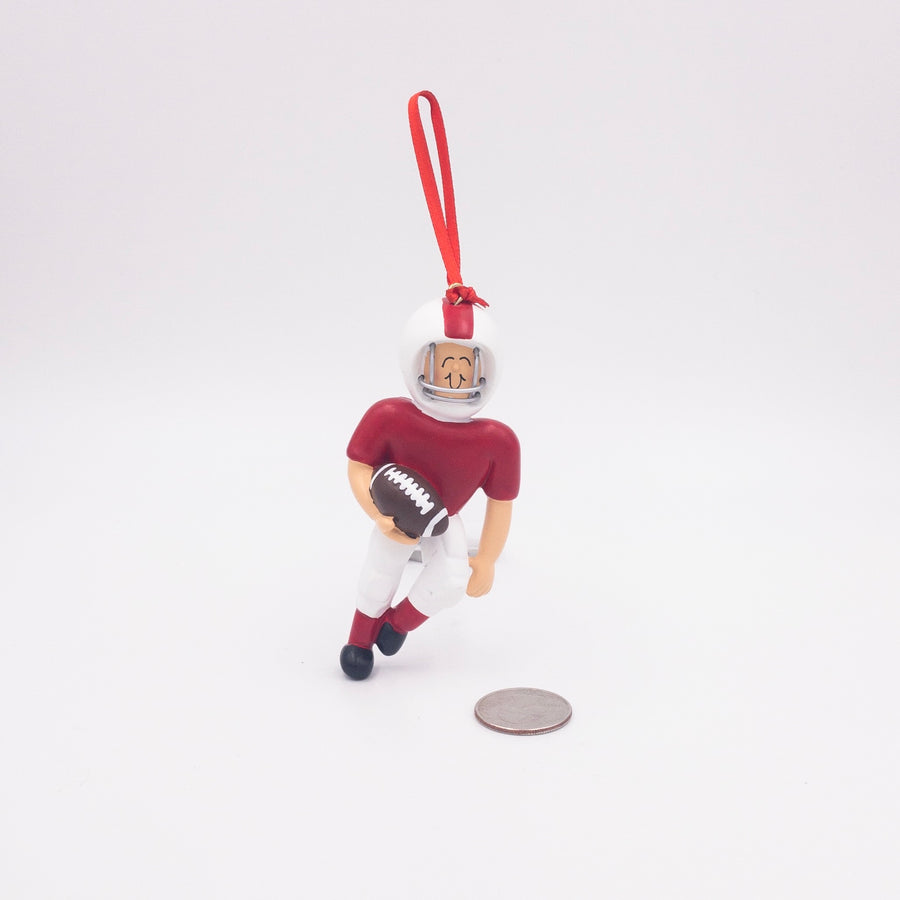 Quarterback in Red Uniform Personalized Christmas Ornament / Football Team Ornament