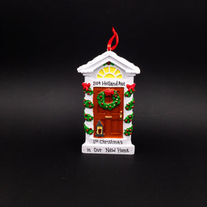 Victorian House Door Personalized Christmas Ornament / New Home Ornament