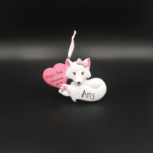 Baby Fox with Pink Heart Personalized Christmas Ornament / Baby's 1st / Baby's First Christmas / Hand Personalized