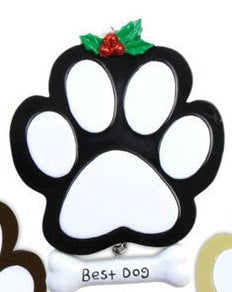 Best Dog Personalized Christmas Ornament / Black Dog Paw Print / Puppy Ornament