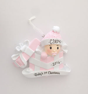 Baby Girl Pink Personalized Christmas Ornament / Baby's First
