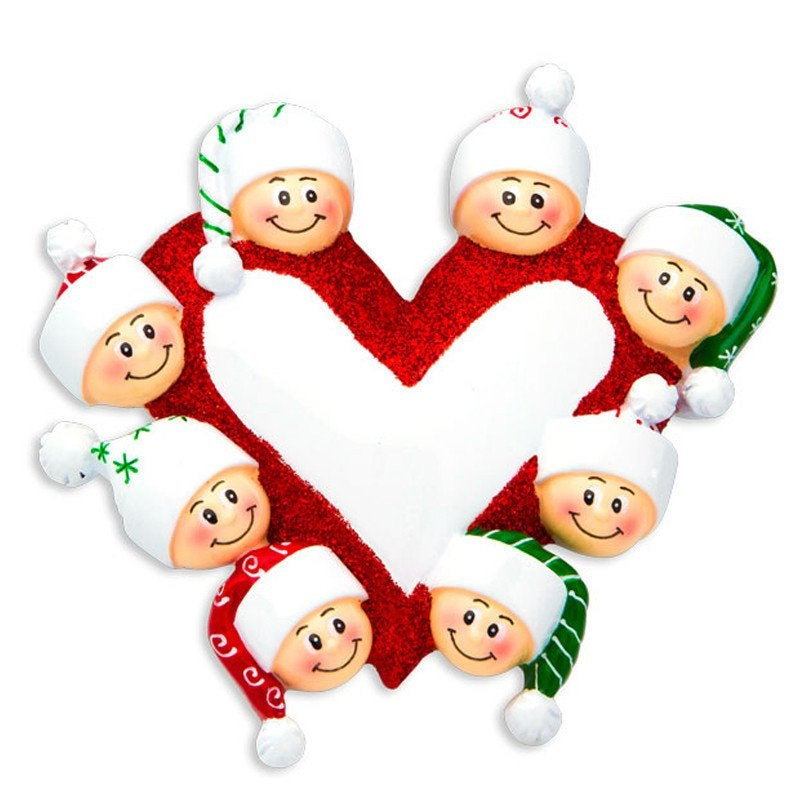 Family of 8 Around a Heart Personalized Christmas Ornament
