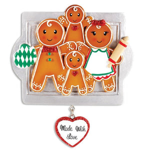 4 Gingerbread Cookies Personalized Christmas Ornament