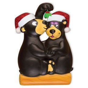 Kissing Under The Mistletoe Personalized Christmas Ornament / Black Bear Couple Ornament / Our First Christmas