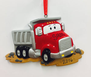 Red Dump Truck Personalized Christmas Ornament / Gift for kids