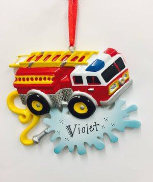 Firetruck Personalized Christmas Ornament / Child Christmas Ornament / Toddler Ornament / Gift for kids