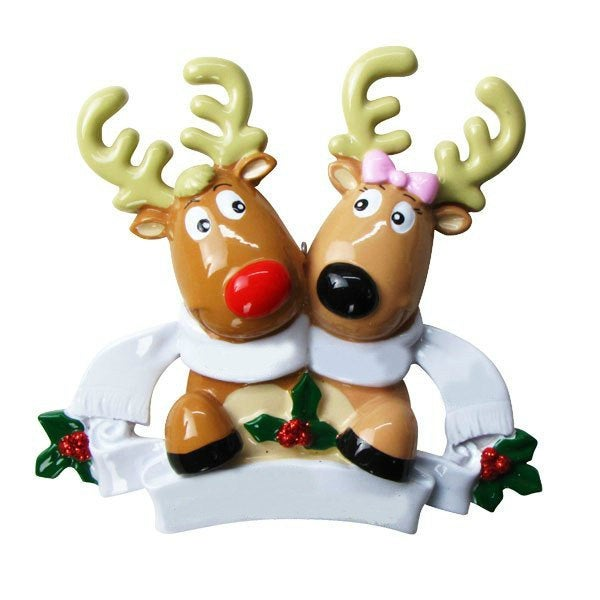 2 Reindeer with Scarves Personalized Christmas Ornament