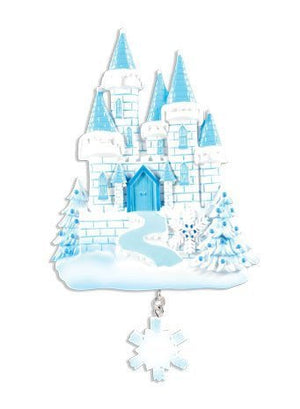 Princess Castle Personalized Christmas Ornament / Blue and White / Ice / Princess Party Favor / Gift for kids