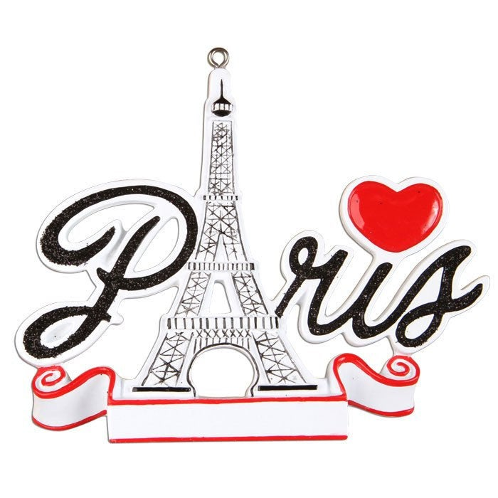 Paris Personalized Christmas Ornament / Paris Ornament / Souvenir / Custom Names or Message / France Vacation / Eiffel Tower