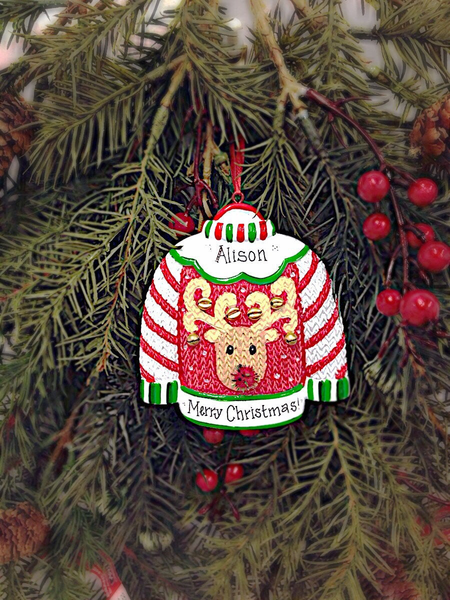 Ugly Sweater Personalized Christmas Ornament /  Ugly Sweater Party
