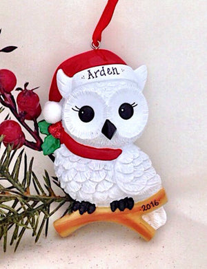 Snowy Christmas Owl Personalized Christmas Ornament / Custom Names or Message / Stocking Stuffer