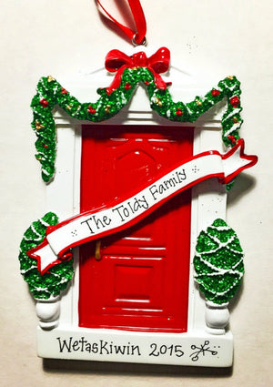 Red Door Personalized Christmas Ornament / New Home Ornament