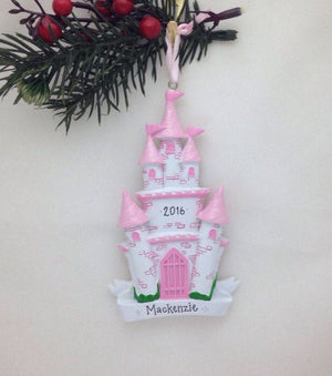 Princess Castle Personalized Christmas Ornament / Princess Ornament / Princess Party Favor / Gift for kids