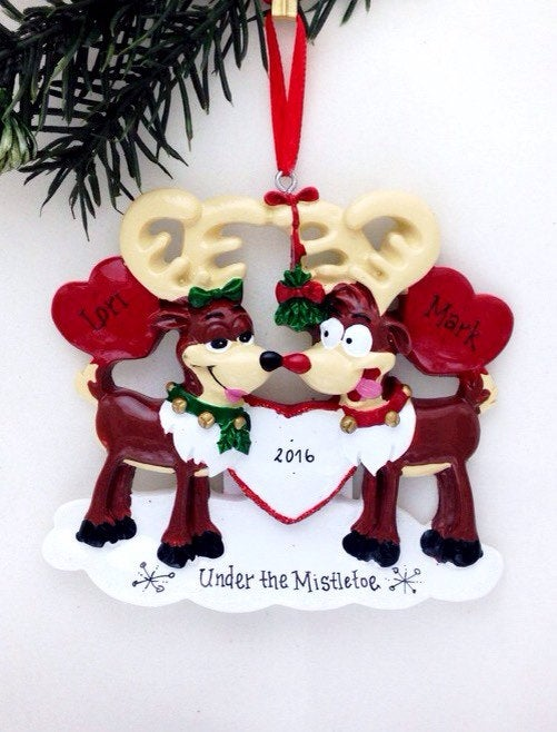 Reindeer Love Personalized Christmas Ornament / Couple Ornament / Our First Christmas / Anniversary / Engaged