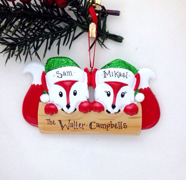 2 Red Foxes Personalized Christmas Ornament