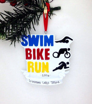 Triathlon Personalized Christmas Ornament / Swim Bike Run Ornament / Triathlete Ornament