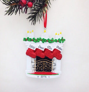 4 Stockings by the Fireplace Personalized Christmas Ornament