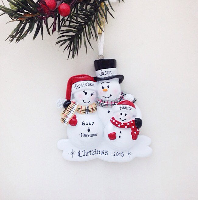 New Baby Makes Four Personalized Christmas Ornament