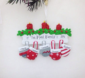 5 Red and Grey Mittens Personalized Christmas Ornament