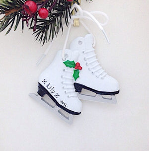 Ice Skates Personalized Christmas Ornament / Figure Skater Ornament / Ice Skating Ornament / Custom Name or Message