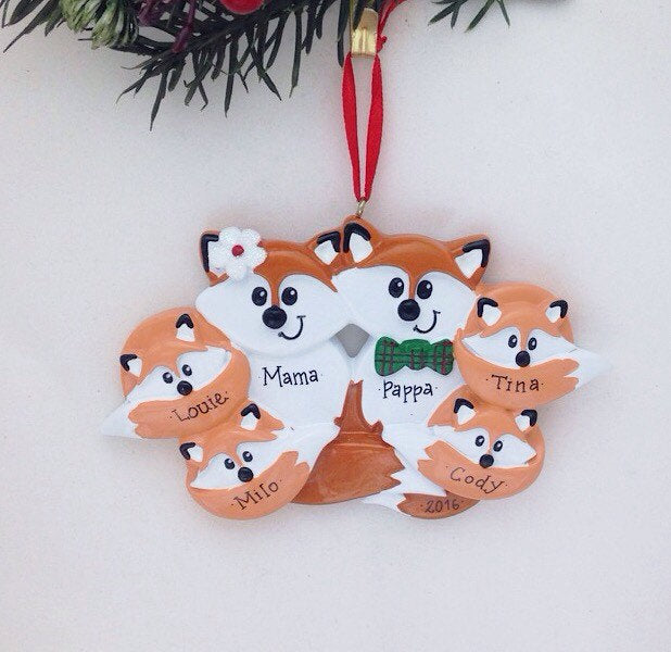 Family of 6 Foxes Personalized Christmas Ornament