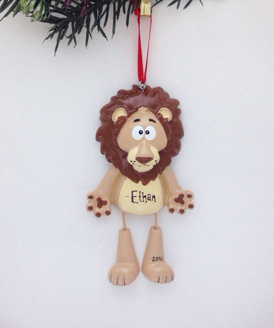Lion Personalized Christmas Ornament / Zoo Animal Ornament