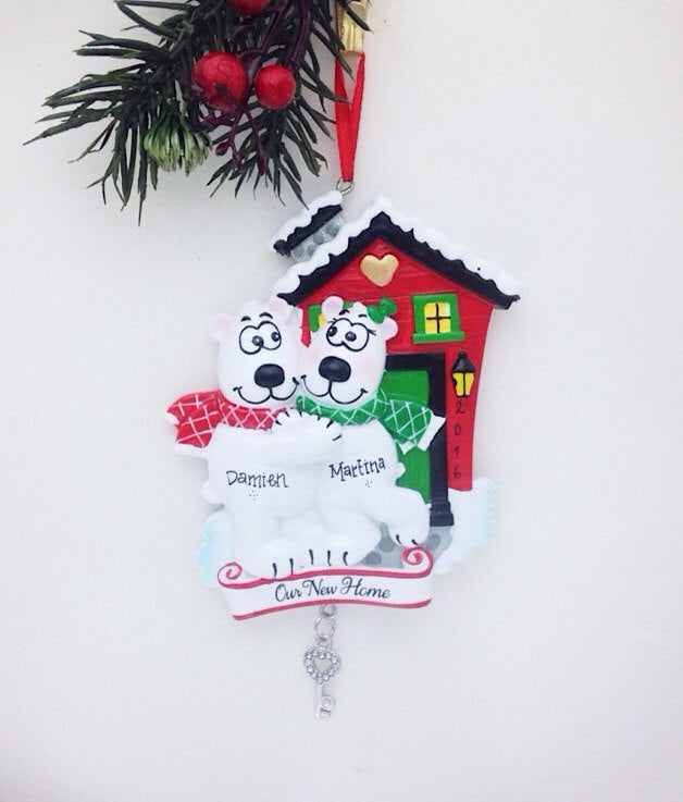 New Home - Polar Bear Couple - Personalized Christmas Ornament - Couple Ornament