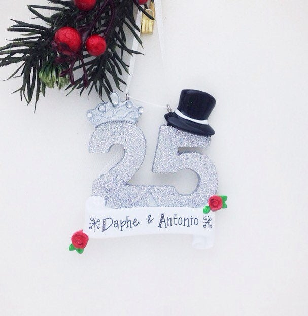 25th Anniversary Personalized Christmas Ornament