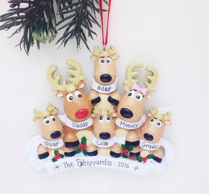 6 Reindeer with Scarves Personalized Christmas Ornament
