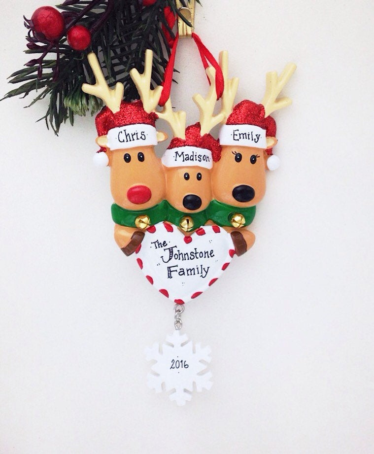 3 Reindeer with Heart and Snowflake Personalized Christmas Ornament