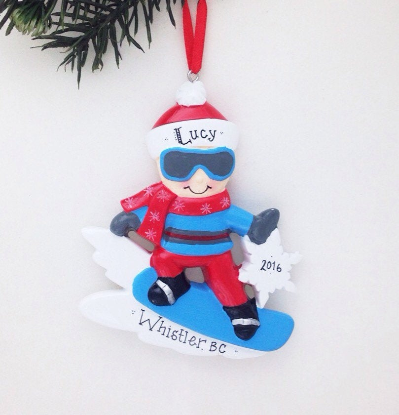 Snowboarder Personalized Christmas Ornament / Snowboarding Ornament / Snowboard / Hand Personalized Ornament