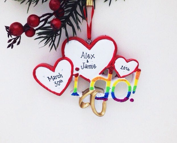 I Do Hearts & Wedding Bands / Pride Rainbow / Same Sex Couple Ornament / First Christmas Ornament / Personalized Ornament