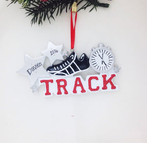 Track Personalized Christmas Ornament / Track Ornament / Hand Personalized Christmas Ornament