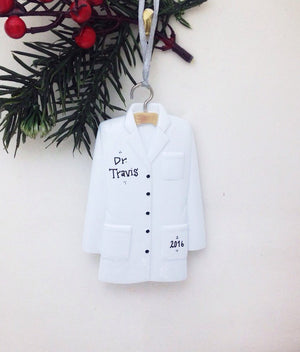 Lab Coat Personalized Christmas Ornament / Doctor Ornament / Scientist / Pharmacist Ornament / Researcher / Stocking Stuffer