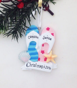 His and hers sandals ornament / Personalized Christmas ornament / Beach Wedding / Honeymoon / Hand personalized names and message