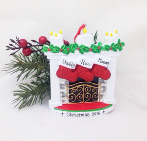 3 Stockings by the Fireplace Personalized Christmas Ornament