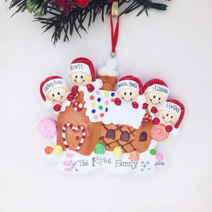5 Happy Faces in a Gingerbread House Personalized Christmas Ornament