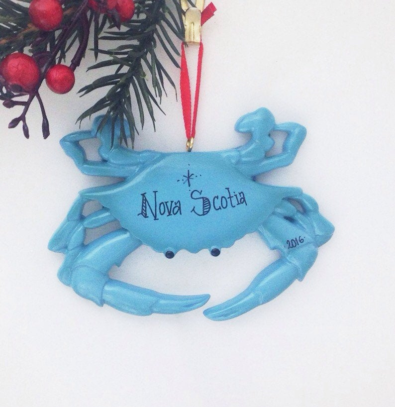 Blue Crab Personalized Christmas Ornament / Crab Ornament