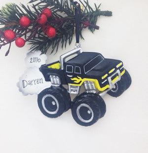 Black and Yellow Monster Truck Personalized Christmas Ornament / Child Ornament