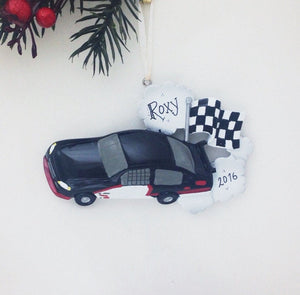 Black Stock Car Personalized Christmas Ornament / Racing Ornament / Child Ornament