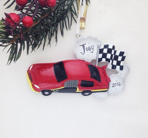 Red Stock Car Personalized Christmas Ornament / Racing Ornament / Gift for kids