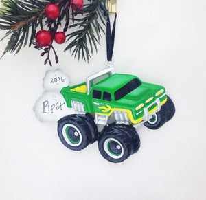 Green and Yellow Monster Truck Personalized Christmas Ornament / Child / Gift for kids