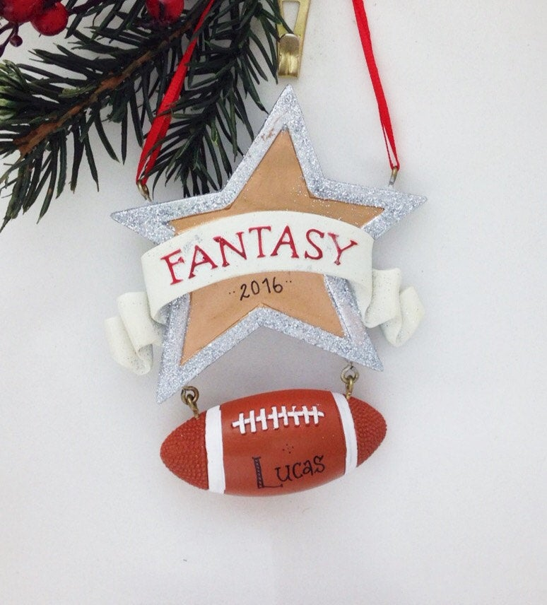 Fantasy Football Personalized Christmas Ornament / Football Ornament / Hand Personalized Christmas Ornament